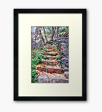 Autumn Red Stone Stairs Framed Print