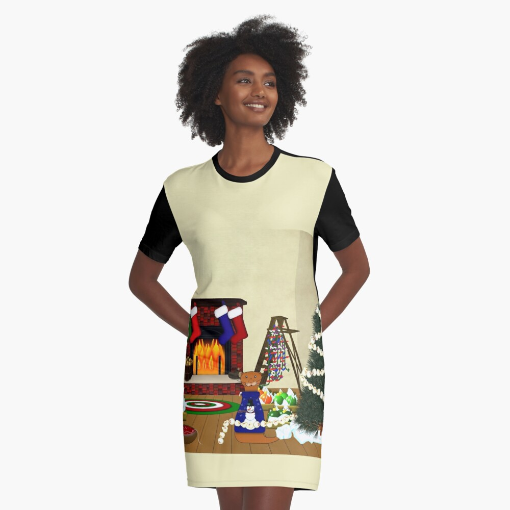 Oliver Decorates for Christmas Graphic T-Shirt Dress
