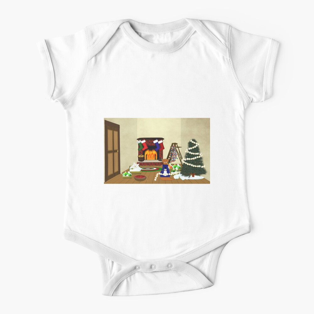 Oliver Decorates for Christmas Baby One-Piece