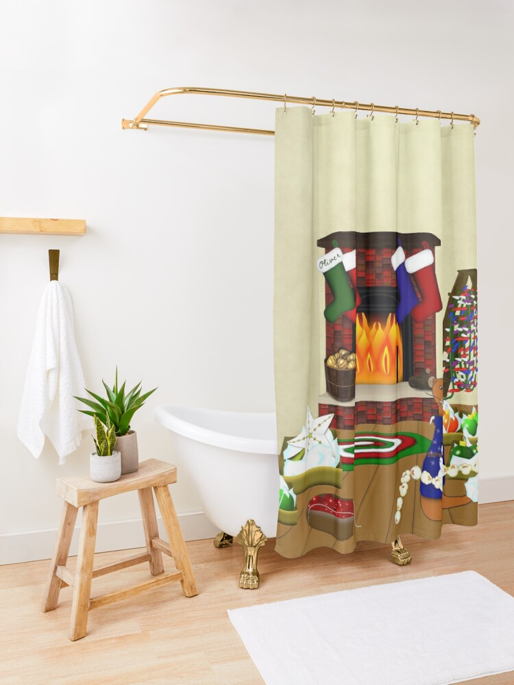 Alternate view of Oliver Decorates for Christmas Shower Curtain