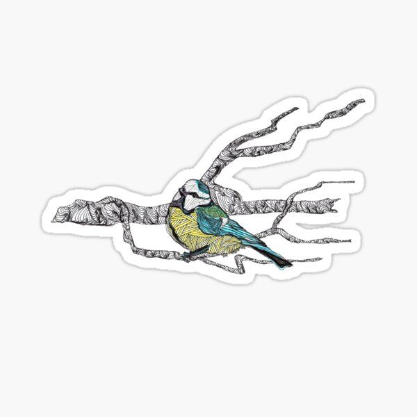 Blue tit on a branch - faith and truth Sticker