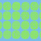 Lime polka dots with sky blue by Morag Anderson