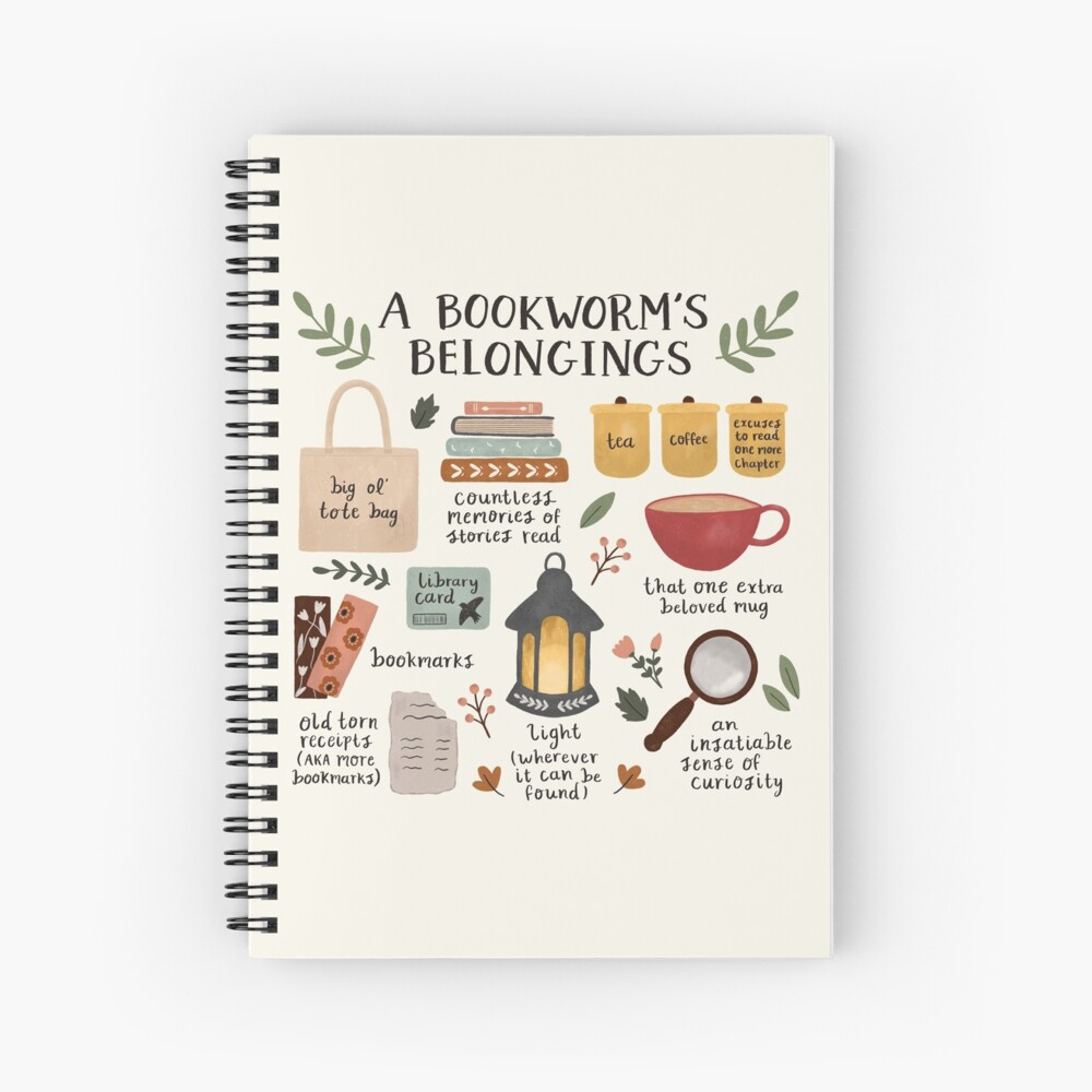 A Bookworm's Belongings Spiral Notebook