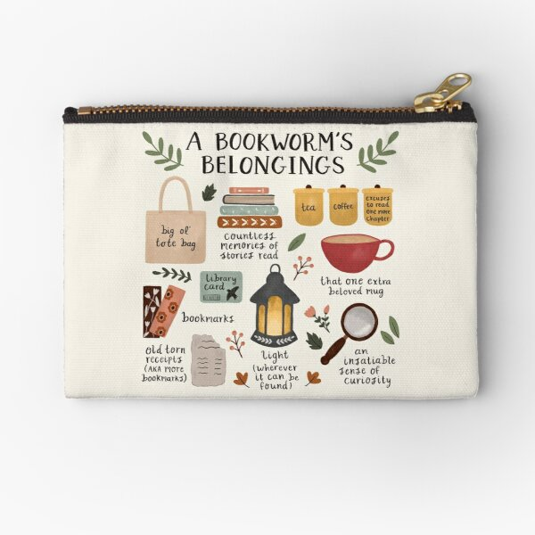 A Bookworm's Belongings Zipper Pouch
