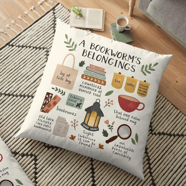 A Bookworm's Belongings Floor Pillow
