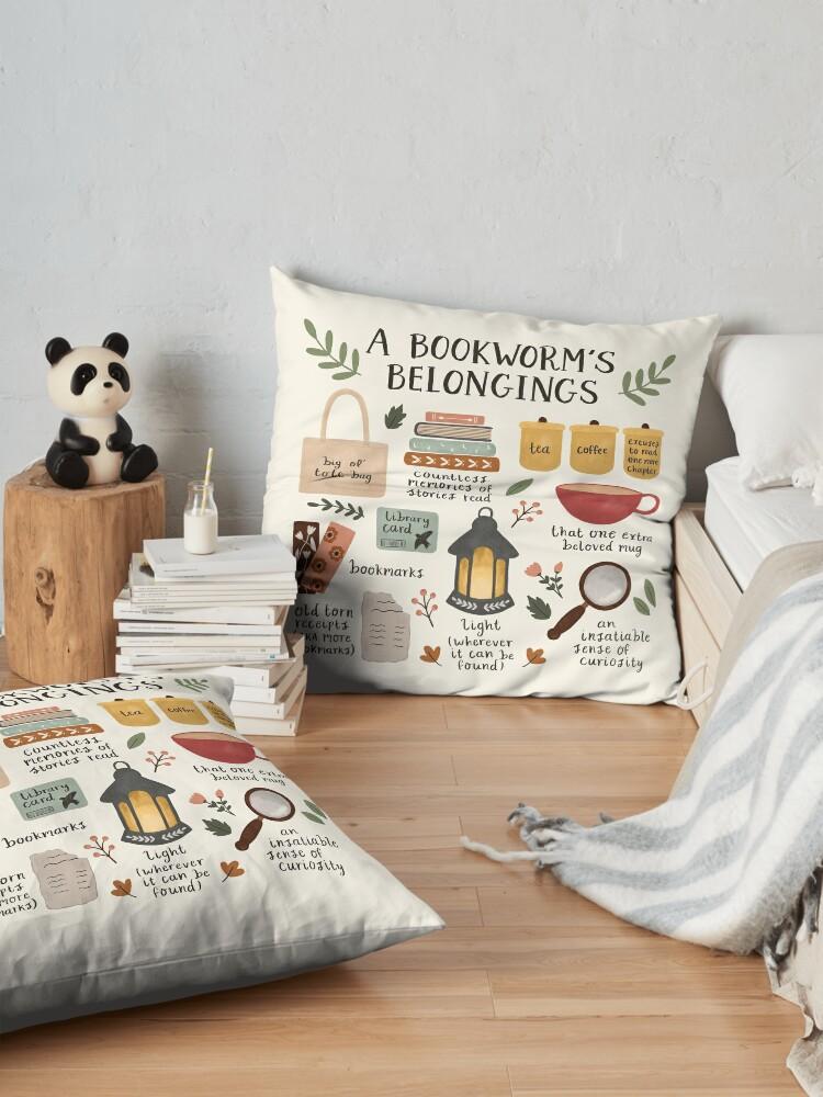 Alternate view of A Bookworm's Belongings Floor Pillow
