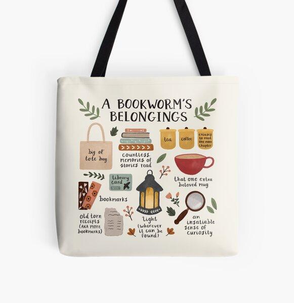 A Bookworm's Belongings All Over Print Tote Bag