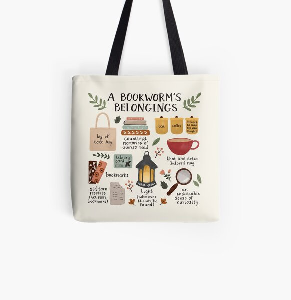 A Bookworm's Belongings All Over Print Tote Bag