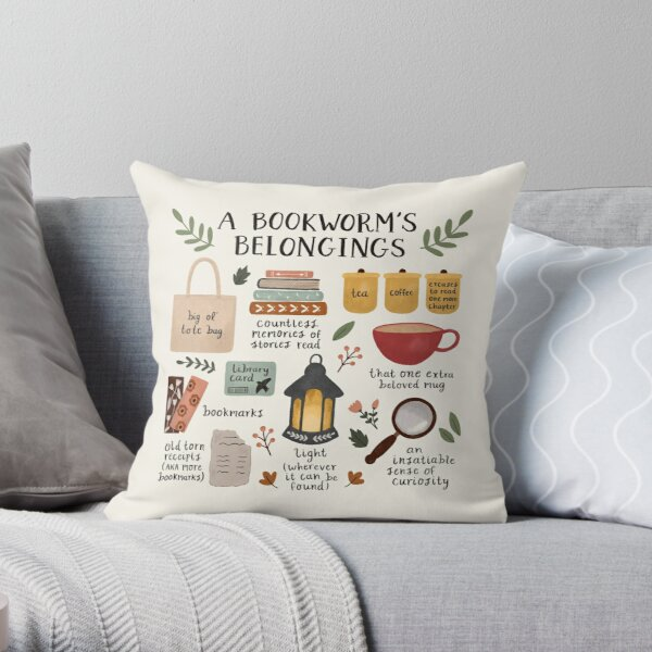 A Bookworm's Belongings Throw Pillow