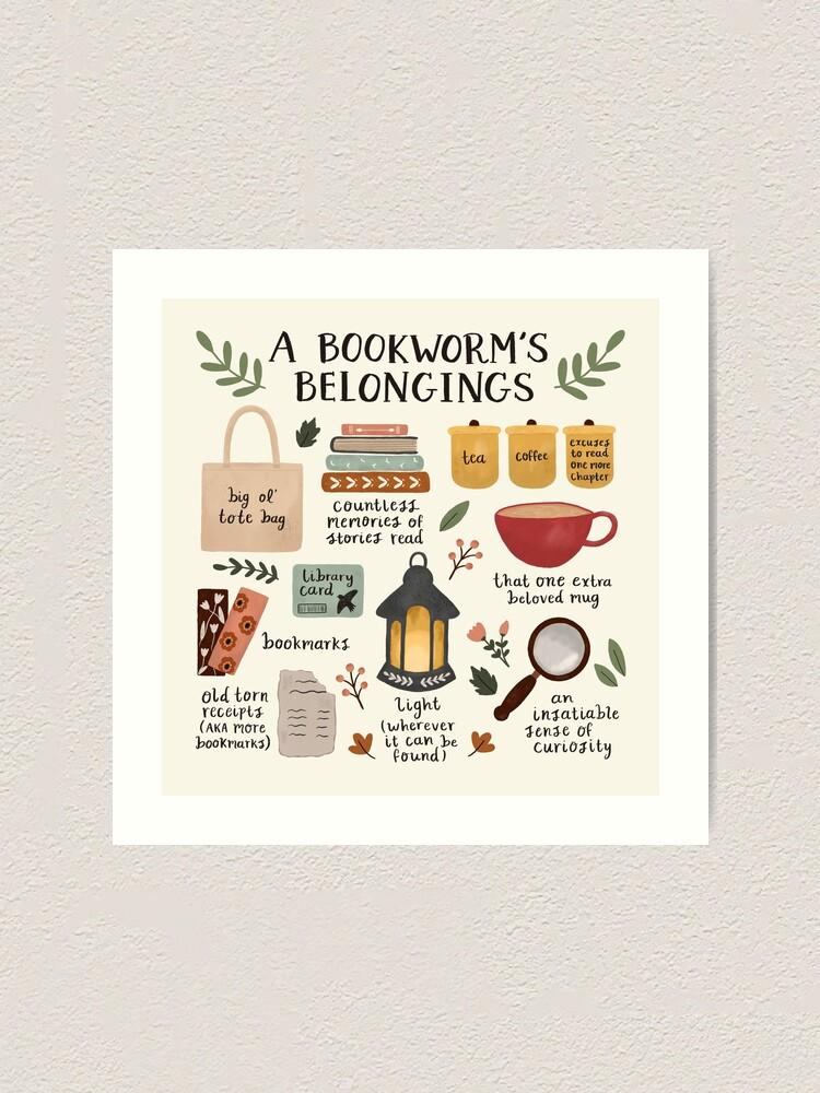Alternate view of A Bookworm's Belongings Art Print