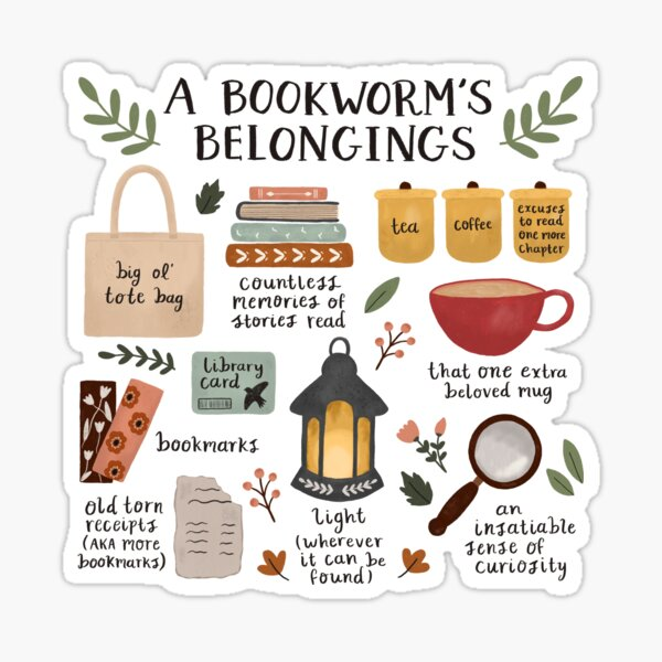 A Bookworm's Belongings Sticker