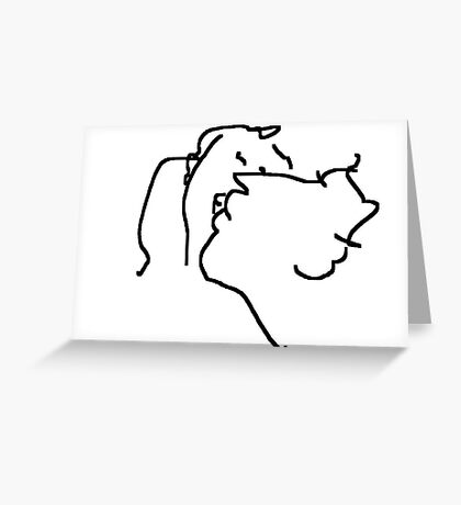 the kiss -(260211)- mouse drawn/ms paint Greeting Card