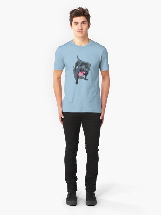 Alternate view of Staffie Dog Aqua Slim Fit T-Shirt