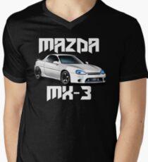 Mazda MX-3 (White car, big text)  Mens V-Neck T-Shirt