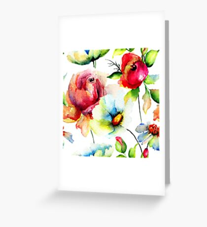 Colorful Watercolors Floral Pattern Greeting Card