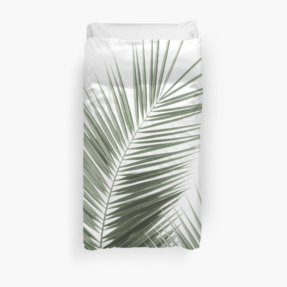 Olive Green Palm Leaves Dream - Cali Summer Vibes #1 #tropical #decor #art Duvet Cover