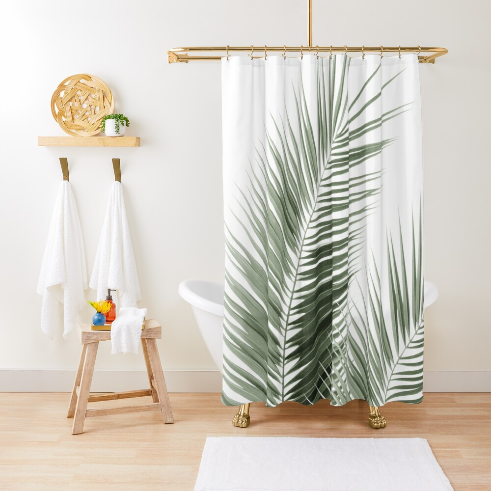 Olive Green Palm Leaves Dream - Cali Summer Vibes #1 #tropical #decor #art Shower Curtain
