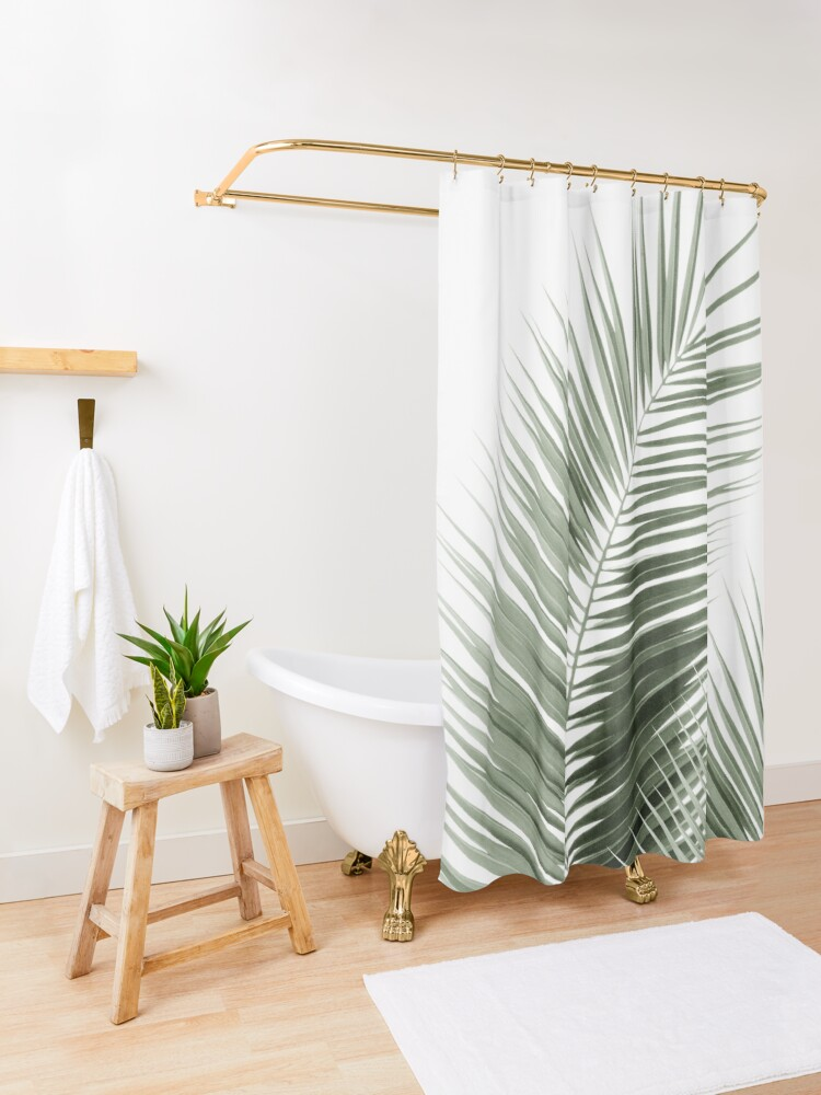 Alternate view of Olive Green Palm Leaves Dream - Cali Summer Vibes #1 #tropical #decor #art Shower Curtain