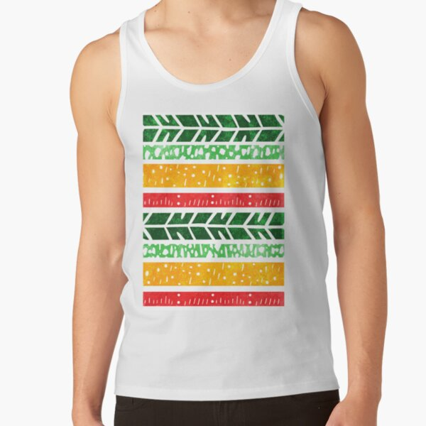 Abstract green, gold and red linocut patterns Tank Top