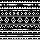 Aztec White on Black Mixed Motifs Pattern by NataliePaskell