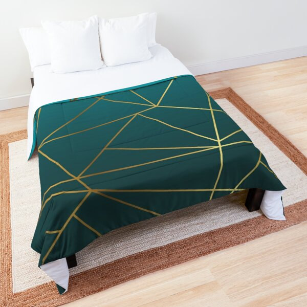 Teal Ombre and Metallic Gold Geometric Design Comforter