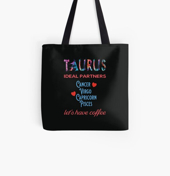 Taurus Ideal Partners All Over Print Tote Bag
