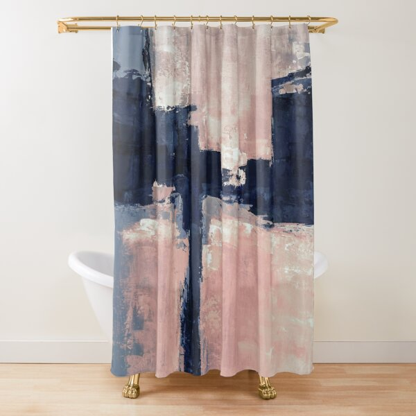peach navy abstract Shower Curtain