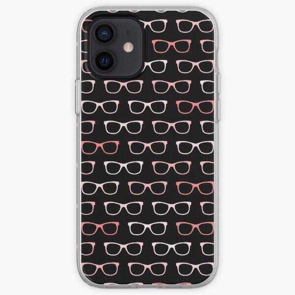 Pink Black Hipster Eyeglasses Pattern iPhone Soft Case
