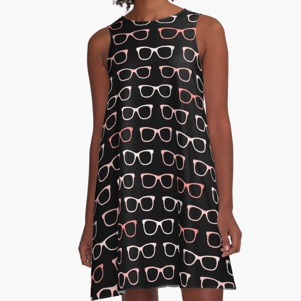Pink Black Hipster Eyeglasses Pattern A-Line Dress