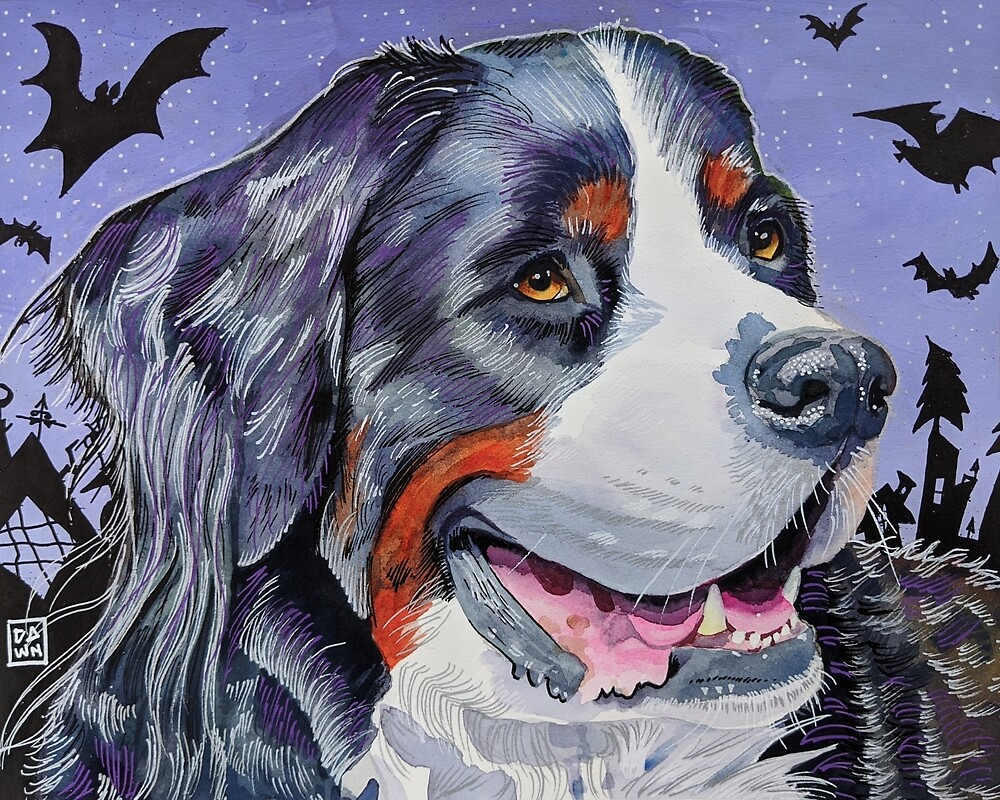 Spooky Bernese Mountain Dog painting in an energetic pop art style with Tim Burton-inspired bat background by Dawn Pedersen