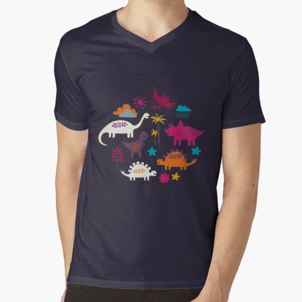 Dinosaur Land - Sunshine Brights - cute Dino pattern by Cecca Designs V-Neck T-Shirt