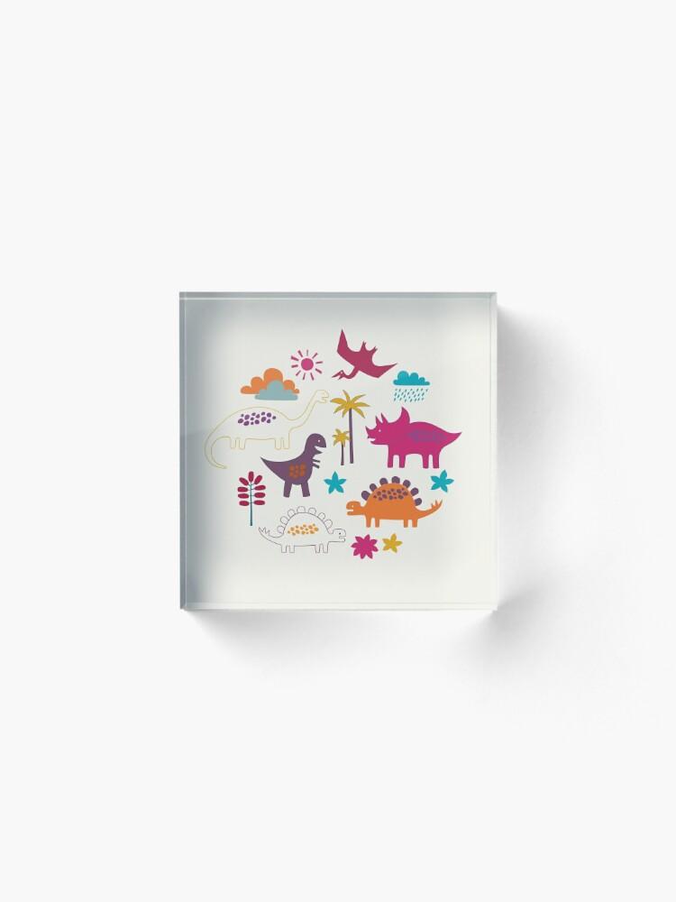 Alternate view of Dinosaur Land - Sunshine Brights - cute Dino pattern by Cecca Designs Acrylic Block