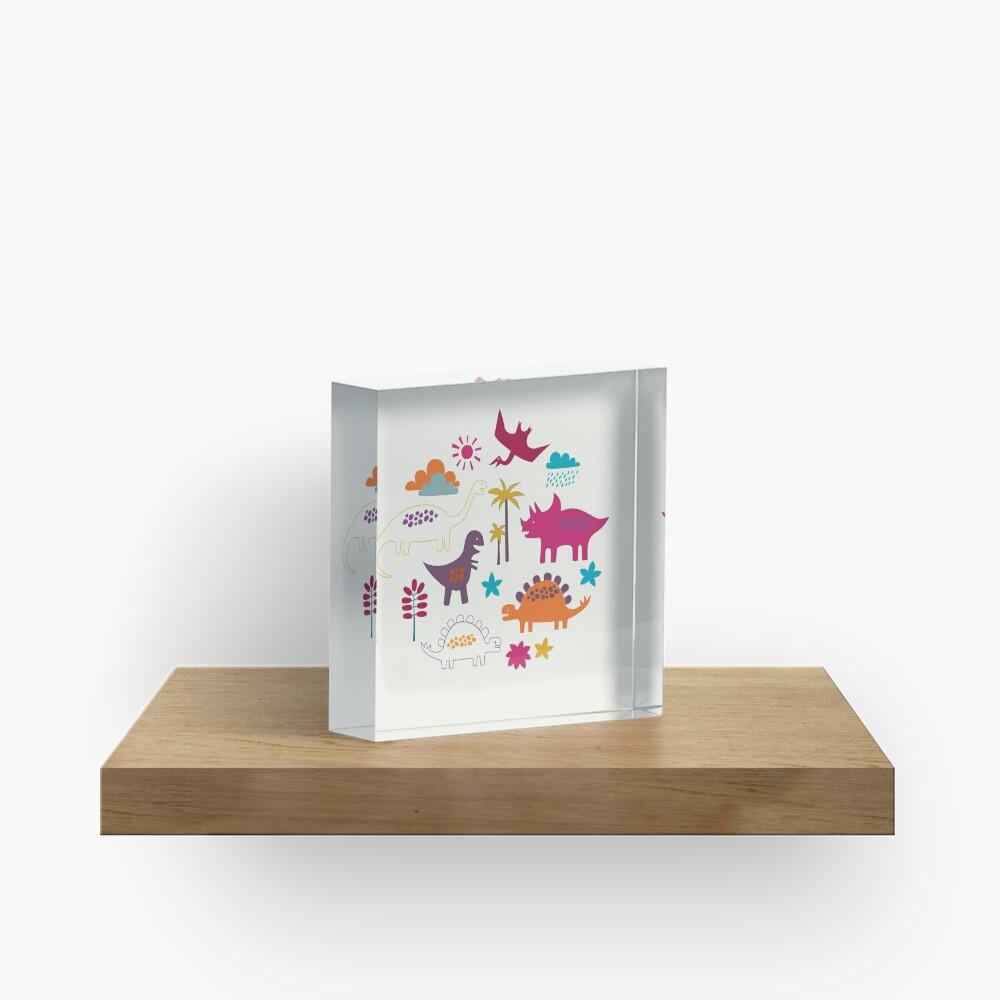 Dinosaur Land - Sunshine Brights - cute Dino pattern by Cecca Designs Acrylic Block
