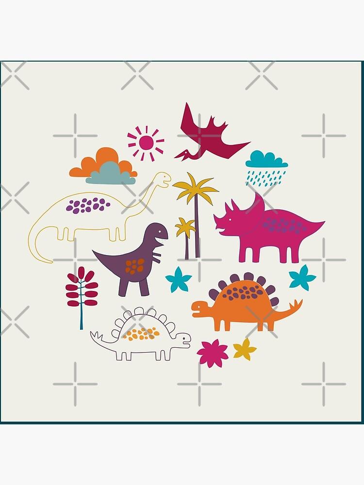 Dinosaur Land - Sunshine Brights - cute Dino pattern by Cecca Designs by Cecca-Designs