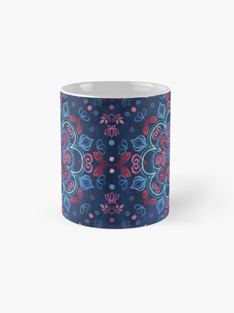 Alternate view of Cherry Red & Navy Blue Watercolor Floral Pattern Mug