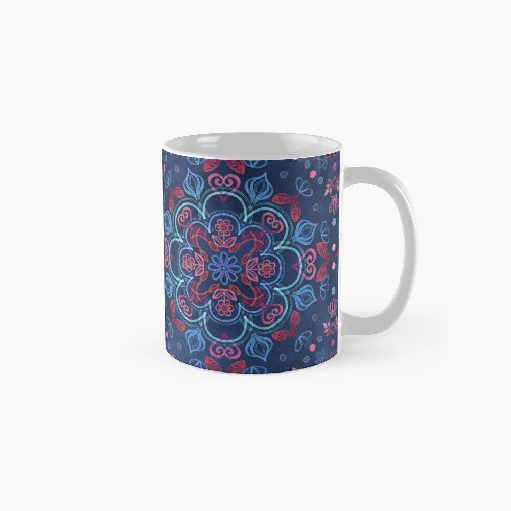 Cherry Red & Navy Blue Watercolor Floral Pattern Mug
