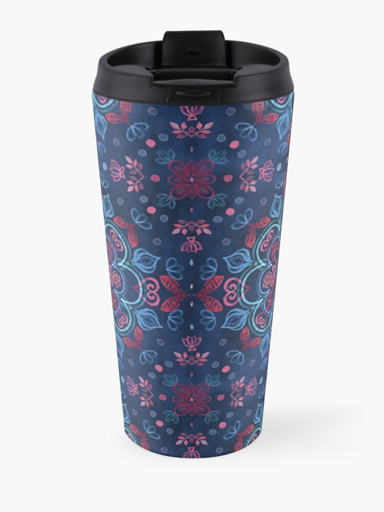 Alternate view of Cherry Red & Navy Blue Watercolor Floral Pattern Travel Mug