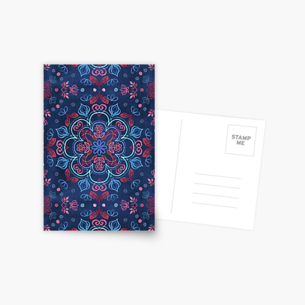 Cherry Red & Navy Blue Watercolor Floral Pattern Postcard