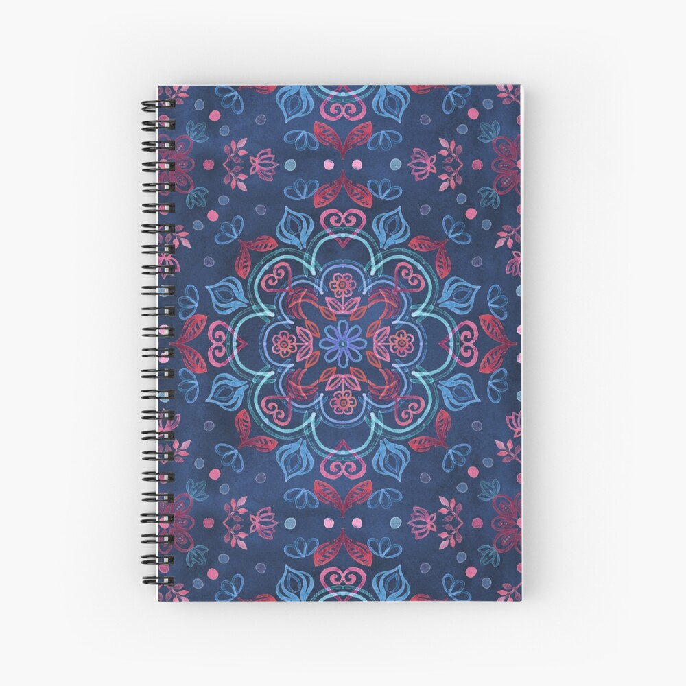 Cherry Red & Navy Blue Watercolor Floral Pattern Spiral Notebook
