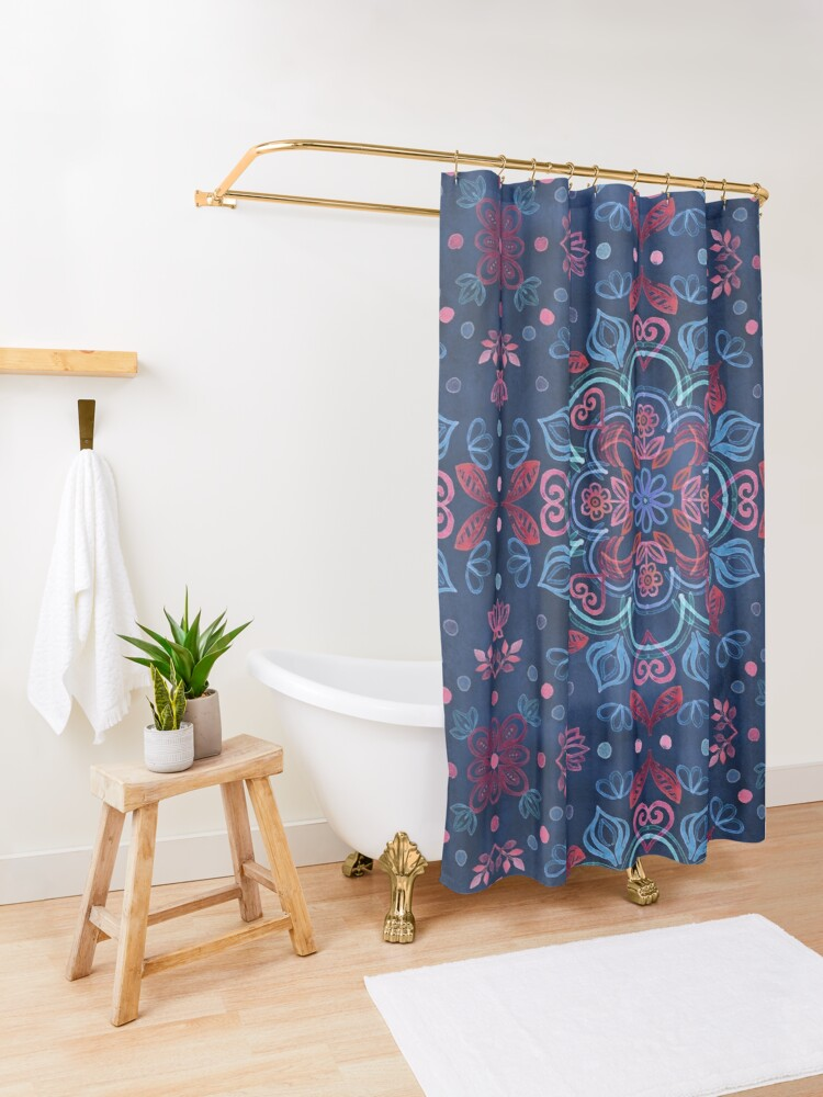 Alternate view of Cherry Red & Navy Blue Watercolor Floral Pattern Shower Curtain
