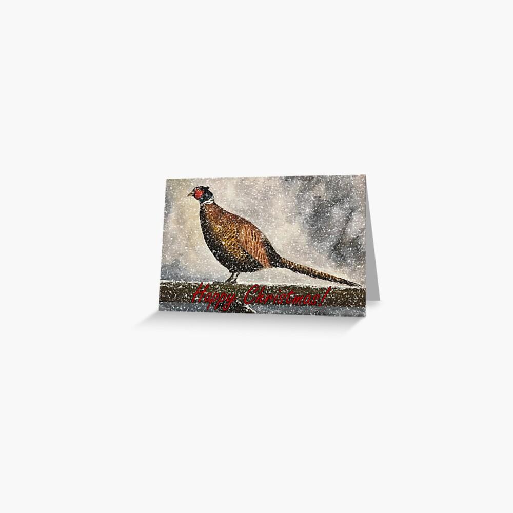 Pheasant in Falling Snow - Christmas Card Greeting Card
