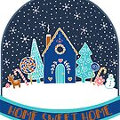 Gingerbread Houses in the snow in the night time - cute Christmas pattern by Cecca Designs by Cecca-Designs