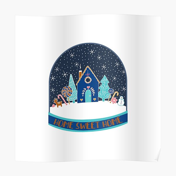 Gingerbread Houses in the snow in the night time - cute Christmas pattern by Cecca Designs Poster