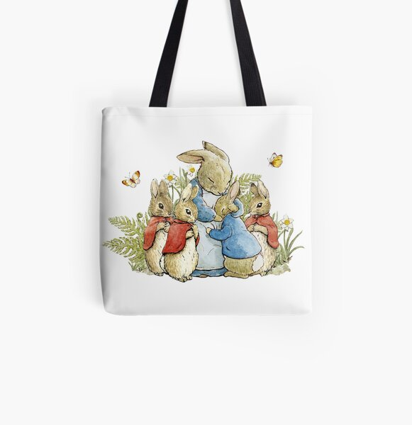 Peter Rabbit With His Family - Beatrix Potter All Over Print Tote Bag
