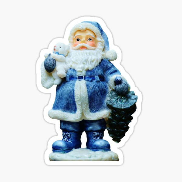 Santa in Blue Sticker