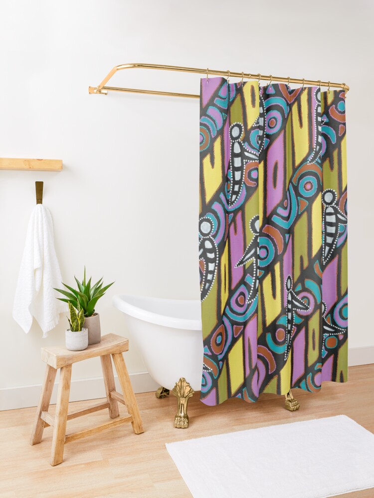 Alternate view of I am (White Cockatoo Dreaming) Shower Curtain