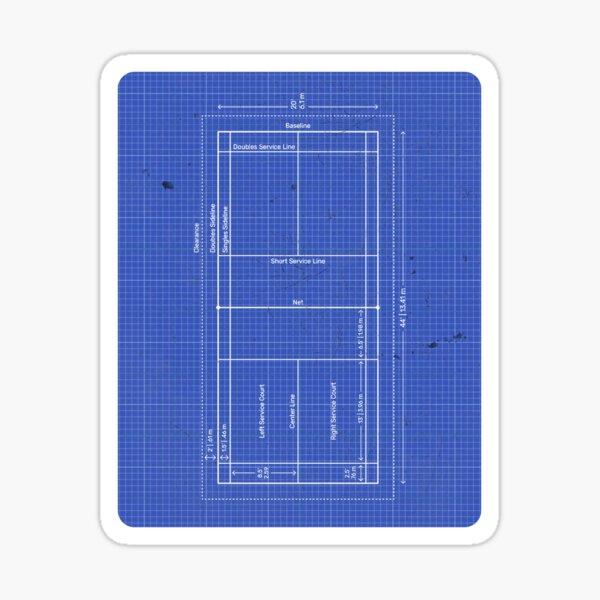 Badminton Court Blueprint Sticker