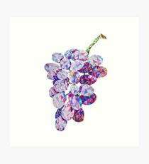 Low Poly Watercolor Grapes Art Print