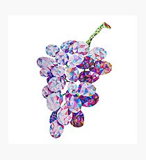 Low Poly Watercolor Grapes Photographic Print