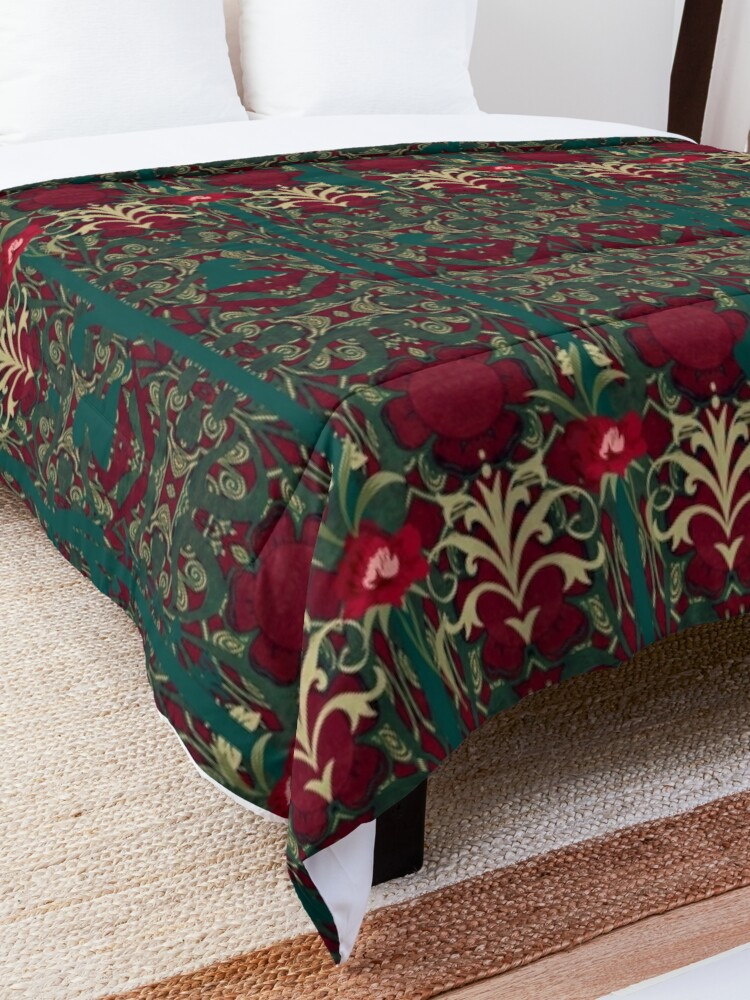 Alternate view of Missus Morris's carnations Comforter